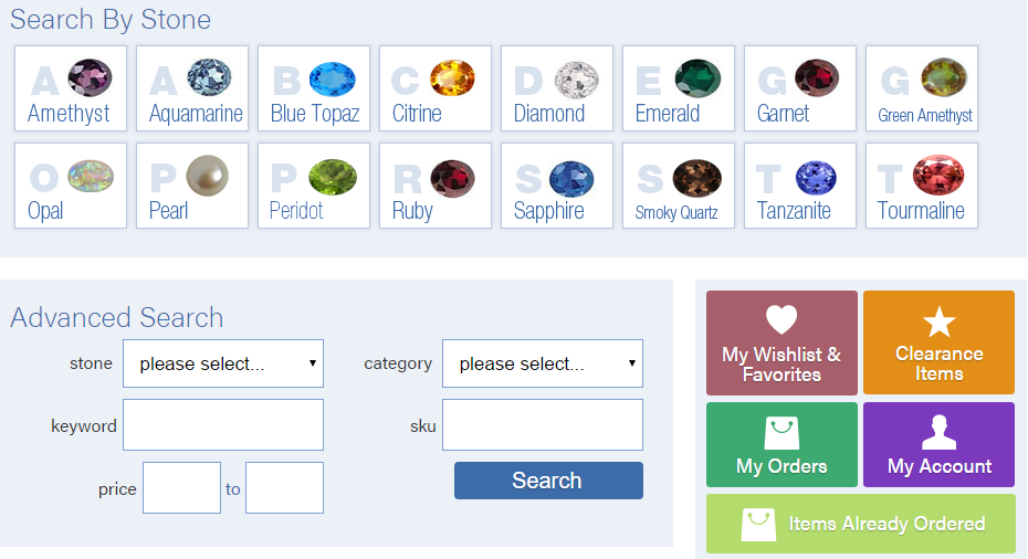 Custom ordering system for jewelry manufacturer
